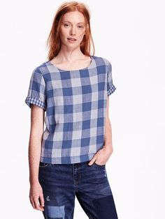 Women's Boxy Plaid Top Product Image