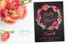 Floral Baby Shower Invitation, Chalkboard Baby Shower Invitation, Watercolor Invitation, Spring Baby Shower Invite, DIY Printable