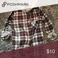 Hooded Flannel Grey, black, and maroon 3/4 sleeve hooded flannel Tops