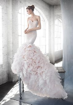 Lazaro - Sweetheart Mermaid Gown in Lace