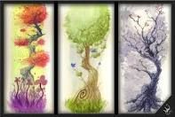 Watercolor trees....love the black and white!