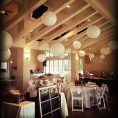 Decoration inspiration. There is a way to hang some decorations from the gorgeous rafters of the Pavilion- Port Gamble Weddings - Pacific Northwest Wedding - Kitsap County Wedding Venue