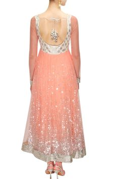 Peach sequins embroidered anarkali suit available only at Pernia's Pop-Up Shop.