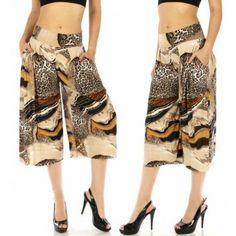 Abstract capri palazzo pants - Leopard On Special $18.66