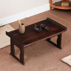 Humble Japanese Style Antique Foldable Rectangle Solid Wood Tea Table Paulownia Wood Small Coffee Table Living Room Tatami Low Table 2019 New Fashion Style Online Café Furniture Café Tables