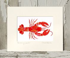 8x10 Matted Art Print TITLED & SIGNED / Whimsical Lobster / Kitchen Wall Art / Beach Art / Printed from My Original Coastal Illustration
