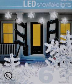 led snowflake lights string of 6 indooroutdoor on ebay