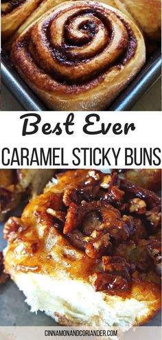 This is hands down the best sticky bun recipe ever! Fluffy buns packed with cinnamon and brown sugar filling and coated in a caramel pecan sauce. Best Sticky Bun Recipe, Pecan Sticky Buns, Sweet Roll Recipe, Pecan Cinnamon Rolls, Cinnamon Recipes, Easy Cinnamon Bun Recipe, Caramel Rolls, Caramel Pecan, Sunday Morning