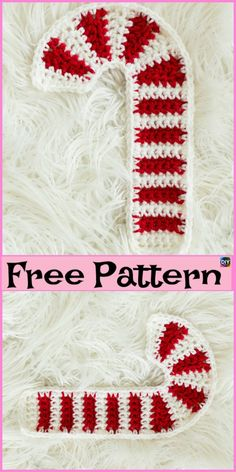 Easy Crochet Patterns Crochet Candy Canes - Free Pattern - These crochet candy canes are super easy and quick to make, and you can make a lot of them as decoration for Christmas! Crochet Christmas Decorations, Christmas Applique, Crochet Decoration, Crochet Christmas Ornaments, Christmas Crochet Patterns, Crochet Mug Cozy, Crochet Santa, Crochet Gifts, Easy Crochet