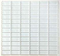 Glazzio Tiles White Glass Glacier 1x2 Stacked