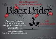 Hey guys come see us for #BlackFriday on November 21, 2014 or call to book your appointment with these prices!  Christine Petti, M.D., F.A.C.S. Cosmetic and Laser Surgery 3400 W. Lomita Blvd., Suite 307 Torrance, California 90505 Tel. 310-961-2530
