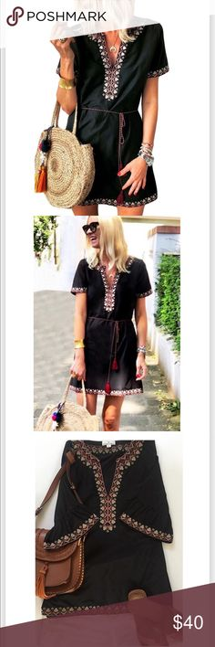 9a064e6a23ea6b Black Boho Tunic Dress Black boho short sleeve tunic dress. Red, white, and