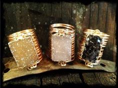 Raw Druzy Rectangle Wire Wrap Rings