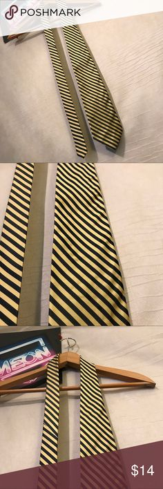 "J. Crew Men's Striped Yellow Black Neck Tie G1410 J. Crew Men's Striped Yellow Black Neck Tie Classic G1410, classic length - 56"", width - 4"", 1 day handling, thank you J. Crew Accessories Ties"