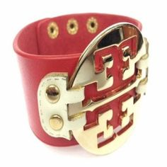 Wide Gold Plated Red Leather Bracelet