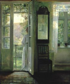 "arcadiaart:  Carl Vilhelm Holsøe, ""Girl Standing on a Balcony""."