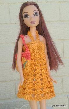Barbies sundress crochet y bolso a juego.  patrón libre en Ravelry por ava