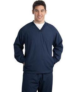 NEW- Sport-Tek® V-Neck Raglan Wind Shirt- JST72