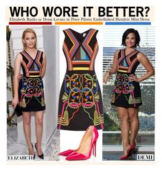 """Who Wore It Better?Elizabeth Banks or Demi Lovato in Peter Pilotto Embellished Hendrix Mini Dress"" by kusja ❤ liked on Polyvore"