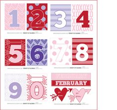 .Here is the happy calendar numbers for this month. Don't you LOVE the colors?!