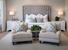 Love a master bedroom big enough to have a sitting area beautiful headboard and neutral palette