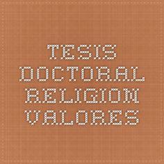 Tesis doctoral religion-valores
