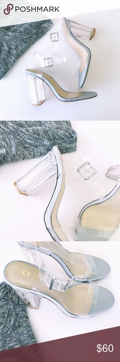 Gray clear accent chunky heels 💓 NEW Features include, a clear accent with a side buckle closure, open toe, contrasting faux leather and a cushioned foot bed. Approximately a 4 1/2 inch chunky heel. Shoes Heels