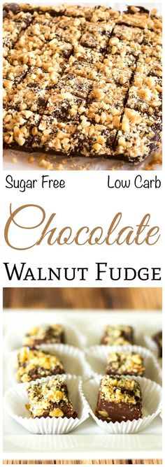 Nut lovers will enjoy this delicious sugar free, low carb chocolate walnut fudge. It has the consistency of real fudge, is loaded with chopped nut, and contains less than 2 grams net carb per serving. From Lisa of Low Carb Yum. Sugar Free Desserts, Sugar Free Recipes, Low Carb Recipes, Keto Desserts, Healthy Recipes, Cheese Recipes, Healthy Food, Low Carb Deserts, Low Carb Sweets