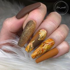 love these colors together, it screams fall! 🍂🍁 Colors used by Secret admirer and running late Use my code at… Crazy Nails, Dope Nails, Fancy Nails, Swag Nails, Fall Acrylic Nails, Fall Nail Art, Stylish Nails, Trendy Nails, Acrylic Nail Designs Classy