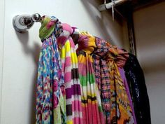 Store Scarves on a towel rack. This simple solution was one of the most popular pins from HGTV.com. More clever storage tricks--> http://www.hgtv.com/specialty-rooms/repurposing-household-items-for-closet-organization/pictures/page-13.html?soc=pinfave