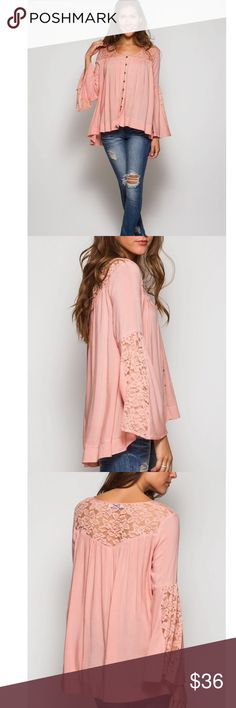 Arriving SoonBell Sleeve Button-Down Lace Top Rose Pink Long bell sleeve button down peasant top with lace contrast. Tops Button Down Shirts