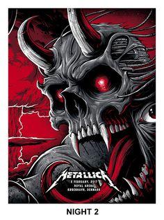 2017 Metallica - Copenhagen II Silkscreen Concert Poster by Brandon Heart Metallica Concert, Metallica Live, Hard Rock, Tour Posters, Band Posters, Music Posters, Metallica Wallpapers, Rock Roll, Rock Music