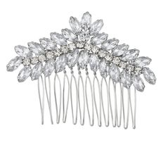 Lux Accessories Silvertone Pave and Crystal Floral Shaped Bridal Bride Hair comb * You can get more details by clicking on the image.