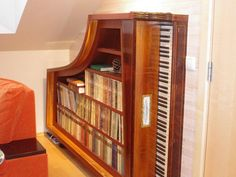 Bookshelf from old piano.......drool!!!