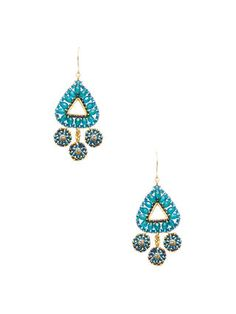 Triangle Beaded Drop Earrings by Miguel Ases at Gilt