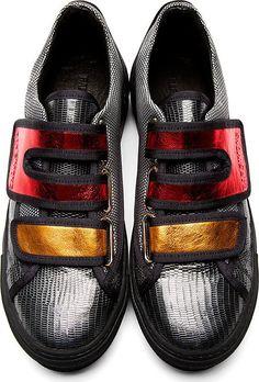 Raf Simons/ Sterling Ruby Grey Lizard Skin Metallic Sneakers