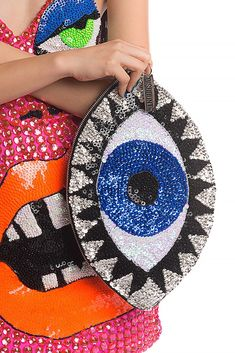 Image of X-LARGE EVIL EYE CLUTCH Pop Art Fashion, Evil Eye Jewelry, Beaded Bags, Handmade Bags, Clutch Bag, Purses And Bags, Couture, Creations, Embroidery