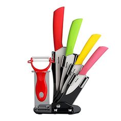HornTide Ceramic Knife Set Piece Kitchen Cutlery Paring Utility Slicer Chef Knives with Peeler and Holder (Mixed Color) Kitchen Cutlery, Kitchen Knives, Ceramic Knife Set, Ceramic Knives, Specialty Knives, Knives And Tools, Dry Hands, Lame, Chef Knife