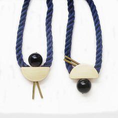Indigo 98 Necklace - Mokuba and brass piece