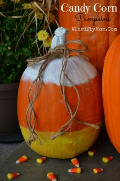 Candy Corn Pumpkin, easy way to decorate a pumpkin without carving it #PumpkinIdeas, Perfect for Kids, #Halloween, #CandyCorn