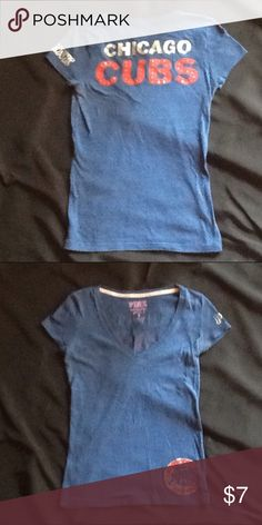 """⚾️GUC VS PINK Chicago Cubs Bling Tee sz S ⚾️ Super cute Chicago Cubs blingy tee! Length is approximately 23"""" when laid flat as pictured. All crystals are intact on shirt. Go Cubs Go! PINK Victoria's Secret Tops Tees - Short Sleeve"""