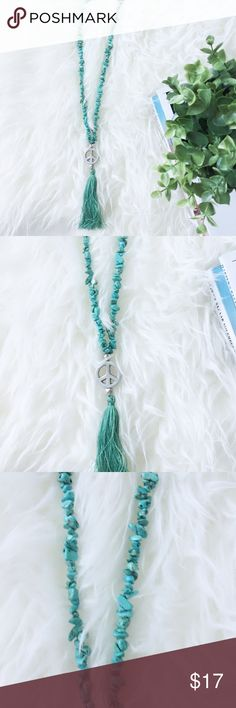 Turquoise Bali Stone Necklace Beaded stones necklace peace sign with tassels. Turquoise /silver peace sign with  tassels Color.Stones measure 24 inches long and tassels measures 3.5 inches. Jewelry Necklaces