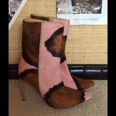 Casadei Leather Pink and Brown Boots Fabulous, fun Casadei boots.......Real hide printed in pink and brown. Bought gently used but never have worn.  They make your legs look amazingly long! Casadei Shoes Ankle Boots & Booties