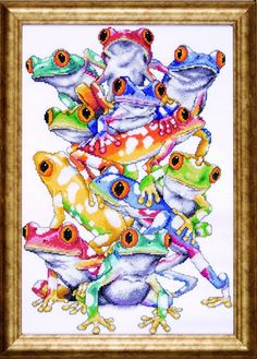Counted Cross Stitch, Frog Pile, 11 by 16 inches