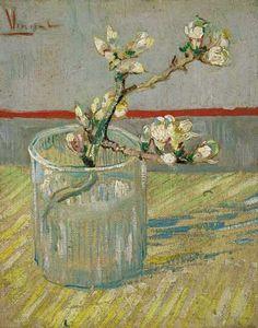Sprig of Flowering Almond in Glass Poster by Vincent Van Gogh at Barewalls.com