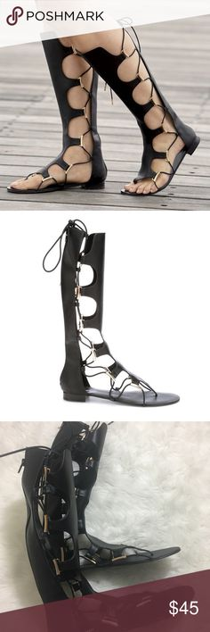 NWOT Gladiator Sandals New! Vegan Leather Gladiator Sandals. Size 12. On trend and a versatile accent with so many dresses, skirts and shorts, these are sure to be a favorite go-to style. Elastic laces and full-length back zip for easy on/off and comfortable fit! Monroe & Main Shoes Sandals