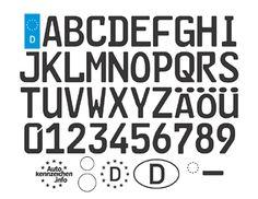 Autokennzeichen-Schriftart (FE-Schrift) als TrueType-Font zum Download