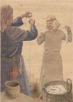 Spinding med håndten, fra slavisk borg – Spinnen, slawischen Burg – Spinning, slavic castle