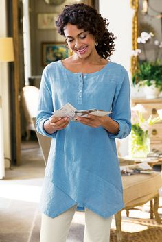 Breezy Nights Tunic - So chic and easy with henley styling | Soft Surroundings