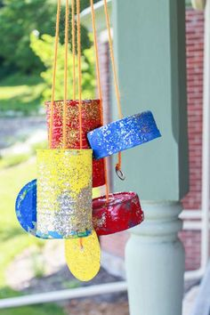 These are some fun, frugal, pretty and easy to make, homemade, upcycled wind chimes that the kids can make!
